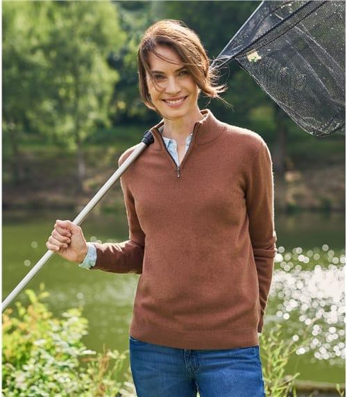 Womens Cashmere Merino Half Zip Sweater