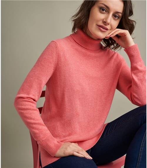 Womens Luxurious Pure Cashmere Boxy Turtle Neck Sweater