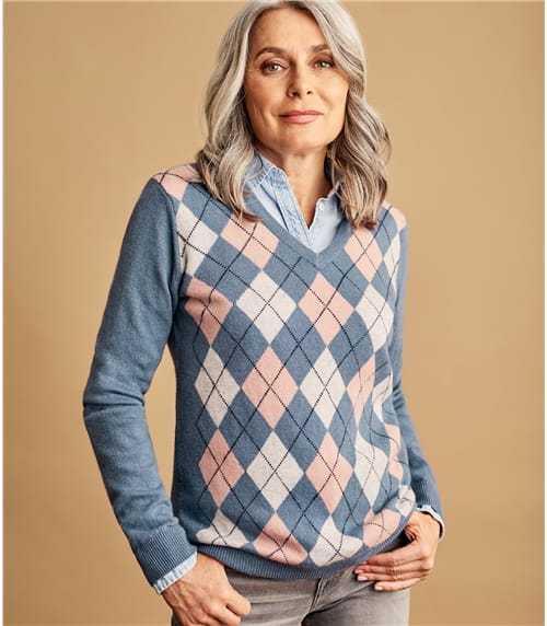 Womens V Neck Argyle Jumper
