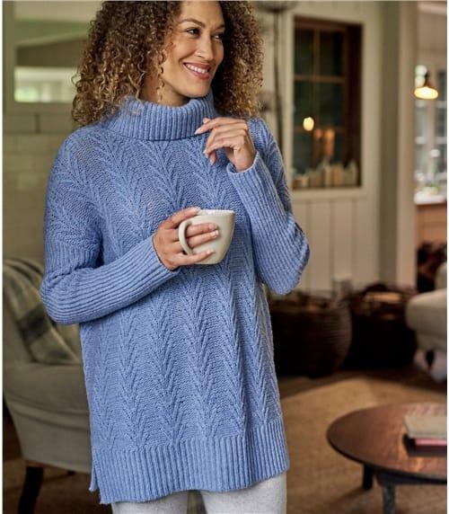 Pullover mit Farnmuster aus Lammwolle für Damen