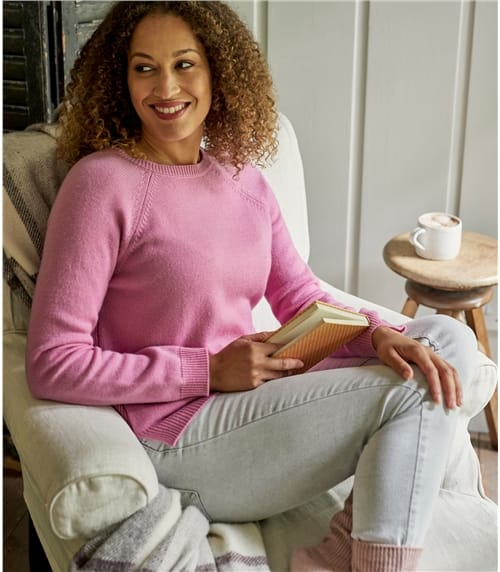 Womens Cashmere Merino Rib Back Jumper