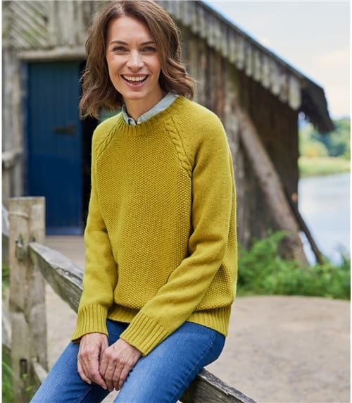Womens 100% Lambswool Moss Stitch Raglan Crew Neck Jumper