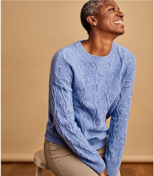 Womens 100% Lambswool Leaf Stitch Sweater