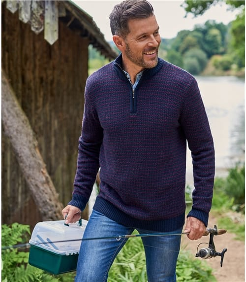Mens Lambswool Geo Stitch Half Zip Jumper