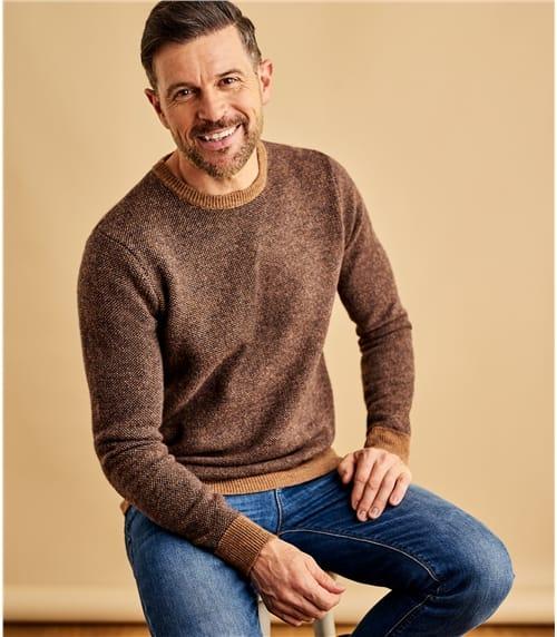 Zweifarbig melierter Pullover aus Lammwolle für Herren