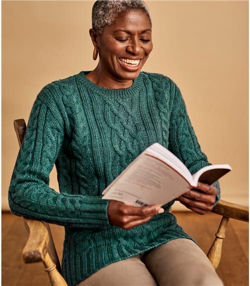 Pullover mit Aran-Zopfmuster aus reiner Wolle für Damen