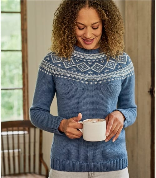 Grob gestrickter Pullover mit Norwegermuster aus reiner Wolle für Damen