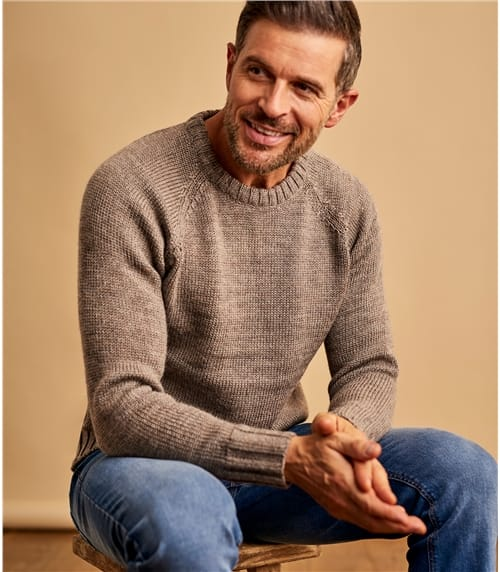 Mens Pure Wool Fishermans Crew Neck Jumper