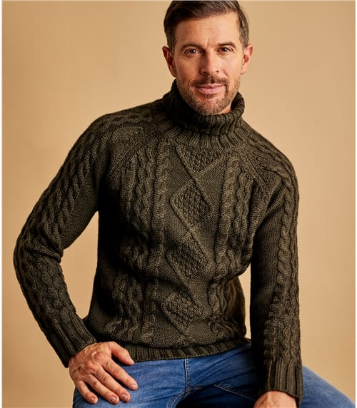 Mens Pure Wool Aran Polo Neck Jumper