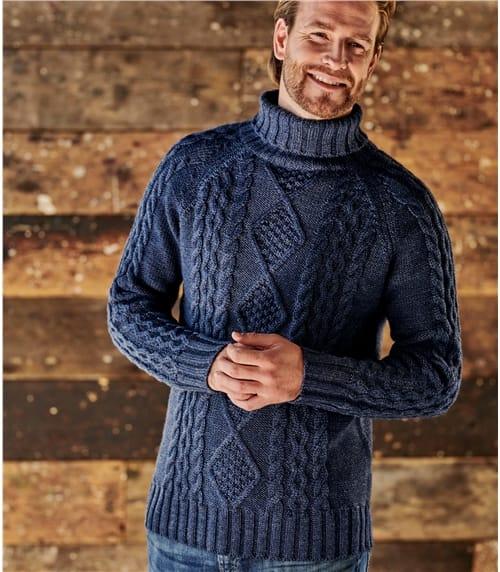Mens Pure Wool Aran Turtle Neck Sweater