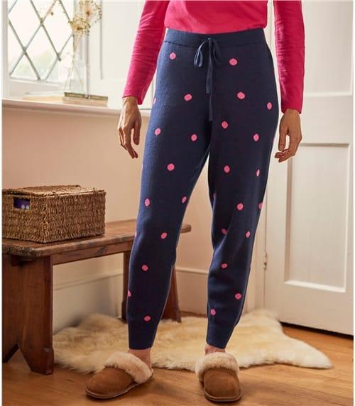 Jogginghose mit Tupfen aus Wollmischung für Damen