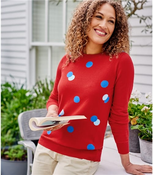 Womens Crew Neck Spot Sweater