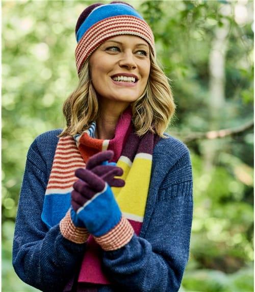 Gestreifte Handschuhe aus Lammwolle mit Farbblöcken