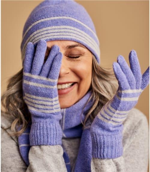 Handschuhe aus Lammwolle mit zweifarbigen Streifen