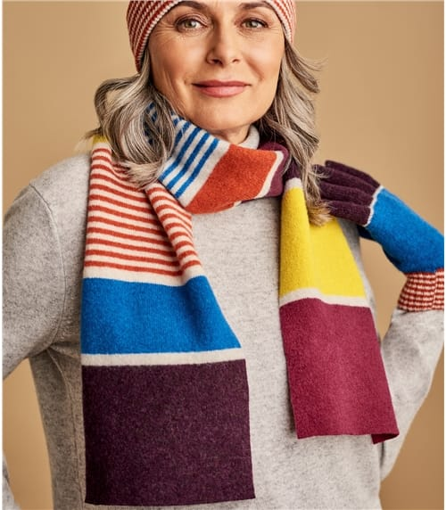 Lambswool Colourblock Stripe Scarf