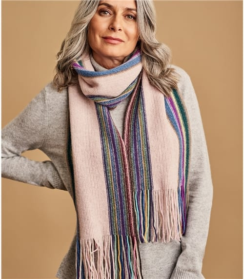 Womans Lambswool Vertical Stripe Scarf