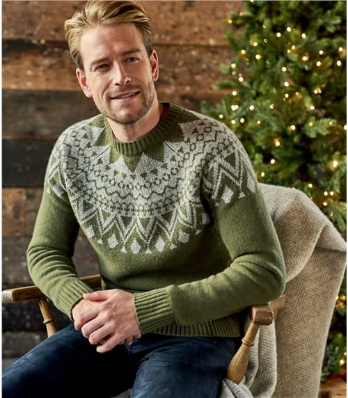 Mens Lambswool Fairisle Raglan Jumper