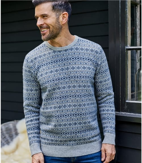 Mens Lambswool All Over Fairisle Sweater