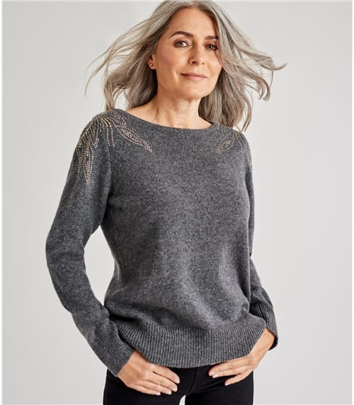 Womens Merino Bugle Bead Shoulder Detail Sweater