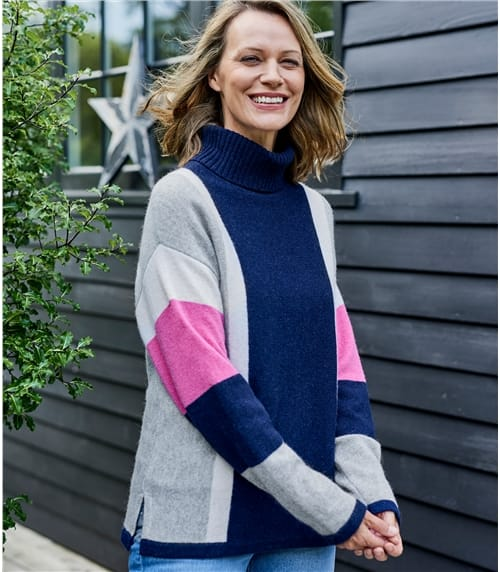 Womens Lambswool Side Colour Block Polo Jumper