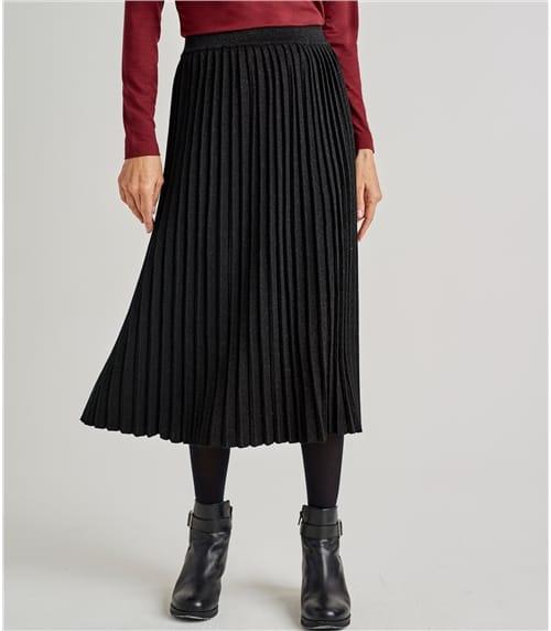 Womens Cotton Blend Lurex Pleat Skirt