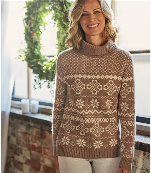 Womens Lambswool All Over Fairisle Polo Neck Jumper