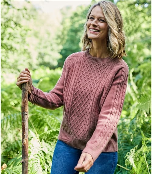 Womens Merino Modern Cable Sweater
