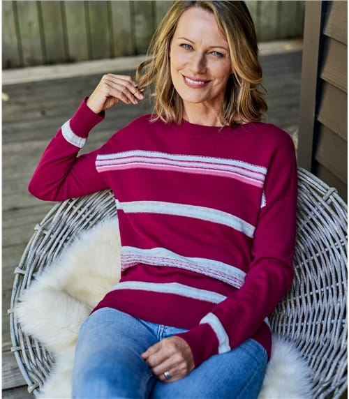 Womens Merino Textured Stripe Sweater