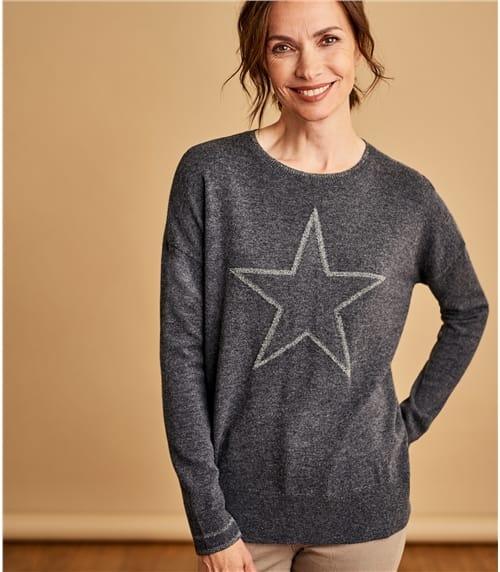 Womens Cashmere Merino Lurex Star Front Sweater