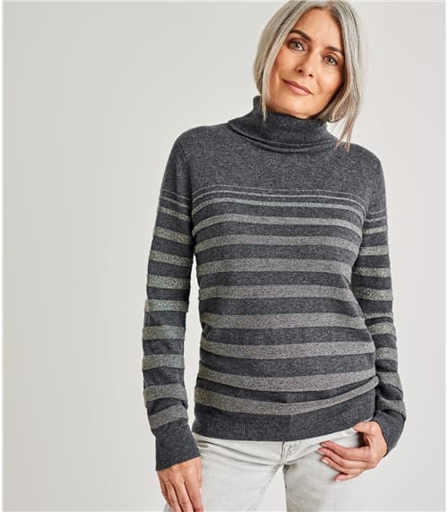 Womens Cashmere Merino Lurex Stripe Turtle Neck Sweater