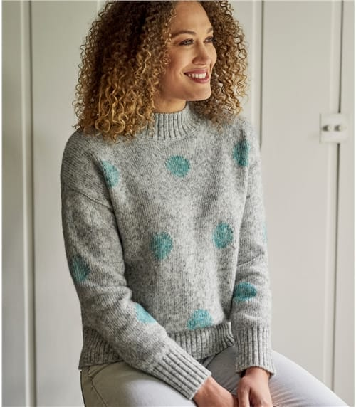 Womens Alpaca Mix Spot Turtle Neck Jumper