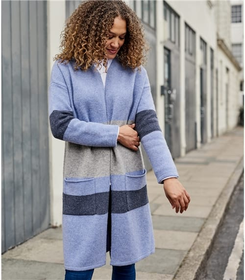 Womens 100% Lambswool Colour Block Coatigan
