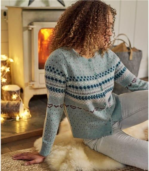 Strickjacke mit Norwegermuster aus Lammwolle für Damen