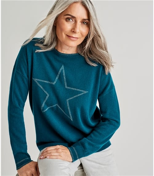 Womens Cashmere Merino Lurex Star Front Sweater
