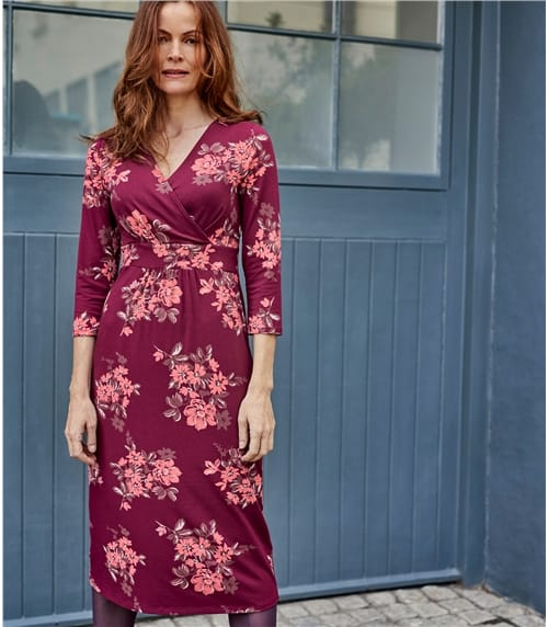 Womens Cotton Empire Line Wrap Dress