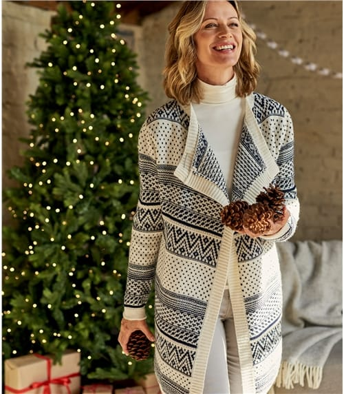 Womens 100% Lambswool Fairisle Waterfall Cardigan