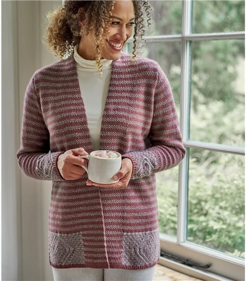Womens 100% Lambswool Geo Border Cardigan