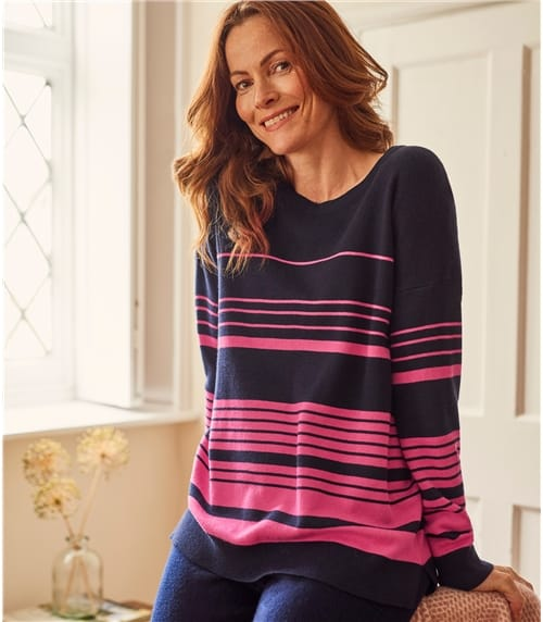 Womens Cotton Blend Relaxed Stripe Sweater