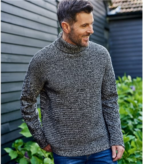 Mens Lambswool Twist Yarn Roll Neck