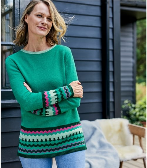 Womens Lambswool Contrast Trim Zig Zag Jumper