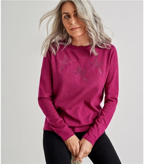 Womens Merino Bird Detail Sweater