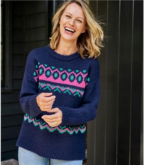 Grobgestrickter Pullover mit Norwegermuster aus weicher Lammwolle für Damen