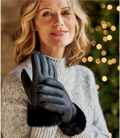 Womens Leather Sheepskin Glove