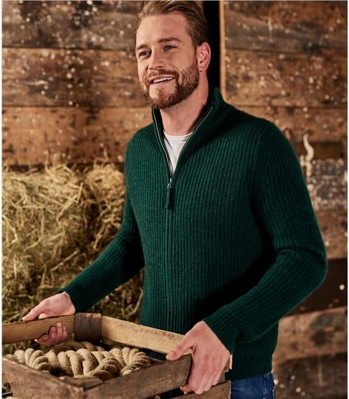 Strickjacke mit Reissverschluss aus Wollmischung für Herren