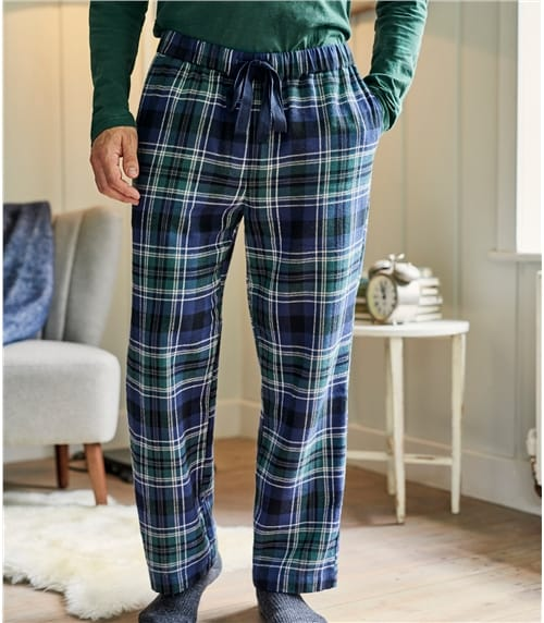 Mens Cotton Woven Check Pyjama Bottoms