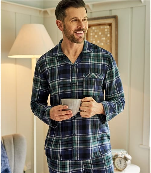 Mens Cotton Woven Check Pyjama Shirt