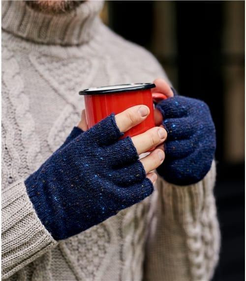 """Fingerlose Handschuhe in """"Donegal Tweed"""" Stil aus Lammwolle für Herren"""