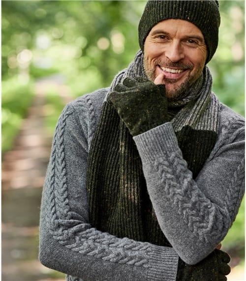 Mens Donegal Tweed Fingerless Glove
