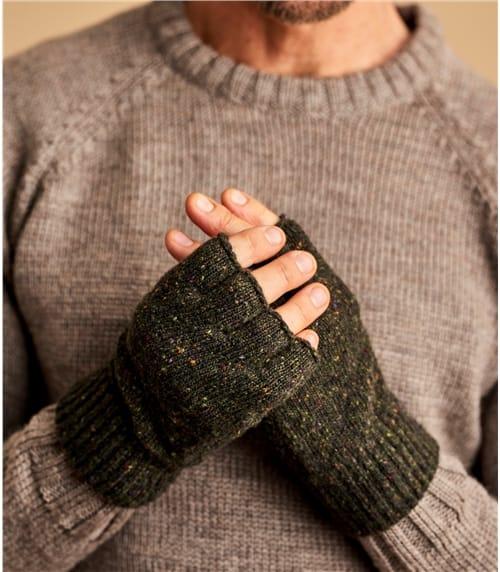 Mitaines effet tweed irlandais - Homme - Laine d'Agneau