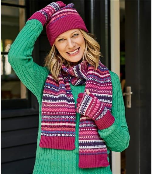 Schal mit Norwegermuster aus Lammwolle für Damen